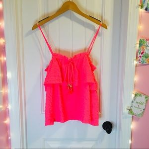 Lilly Pulitzer Neon Coral Pink Top